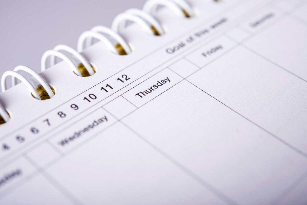 Kalendertage der Woche